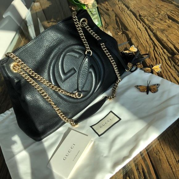 7ac3447e3f4947 Gucci Bags | Soho Black Leather Shoulder Bag | Poshmark